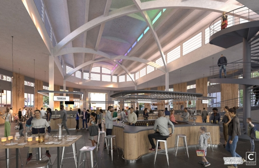 Perspective du projet : vue de l'aménagement intérieur de la halle