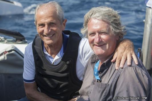 Hubert Falco avec le navigateur Olivier de Kersauson