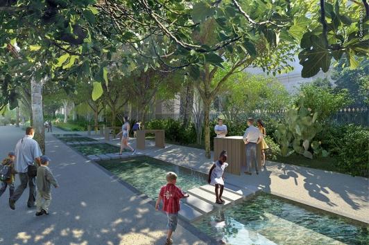 Le jardin réhabilité: l'eau est un élément important du projet © Golem Images