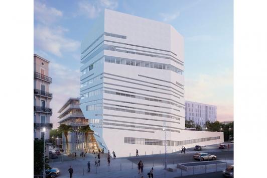 L'Ecole Supérieure d'Art et de Design TPM et l'incubateur/pépinière d'entreprises du numérique, bd Pierre Toesca, avec les logements adossés au projet