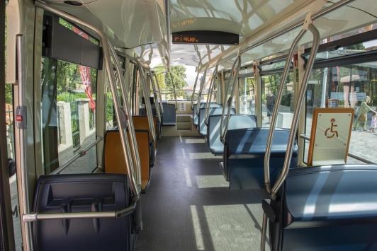 Intérieur du nouveau bus électrique du Réseau Mistral