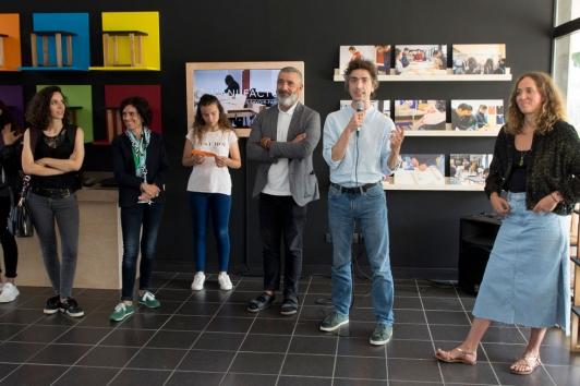 Exposition Manufacto au collège Marcel Rivière en présence de Jean-Pierre Blanc