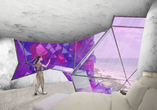 Amethyst Hôtel, proposition pour Luxury Hotel Chain, 2014 © NL