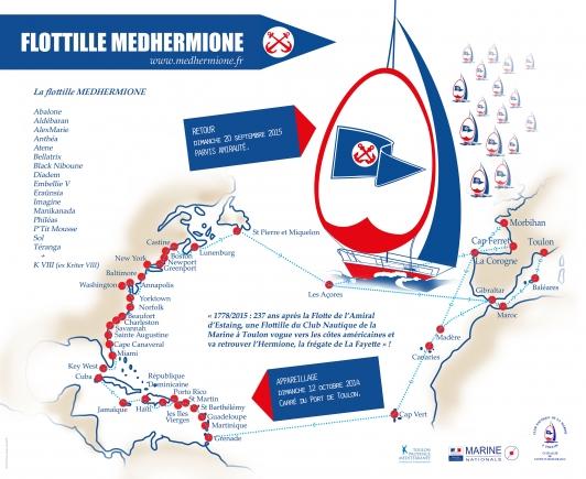 Parcours Flotille Medhermione - crédit Marine Nationale