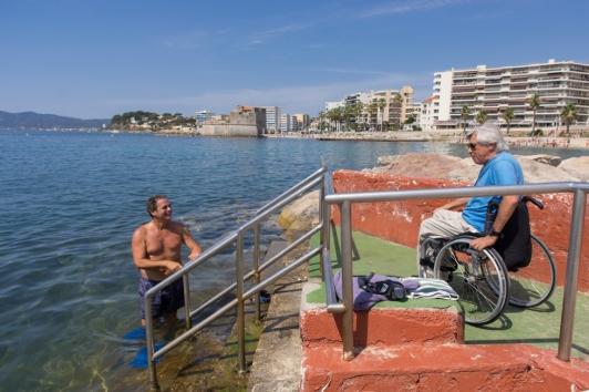 PMR Accès plages du Mourillon à Toulon