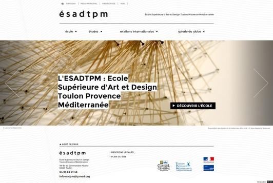 Page d'accueil du site de l'ESADTPM