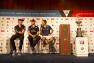Franck Cammas de Groupama Team France et les autres représentants des équipages lors de la conférence de presse