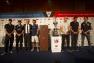 Hubert Falco, avec Franck Cammas et les autres représentants des équipages, lors de la conférence de presse