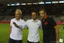 J-5: Franck Cammas, skipper de Groupama Team France, donne le coup d'envoi à Mayol du match RCT/Brive avec Hubert Falco et Mourad Boudjellal